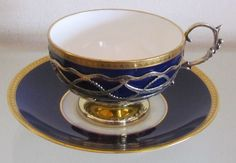 1912 ANTIQUE MINTONS Tea Cup & Saucer with Sterling Silver Holder & Handle The porcelain cup has no handle and is equipped with a unique Coffee Set, Coffee Cups, Tea Cups, Cup And Saucer Set, Tea Cup Saucer, Terracotta, Vintage Cups, Tea Service, My Tea