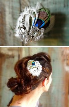gorgeous peacock feather hair piece found on ohweddings.net