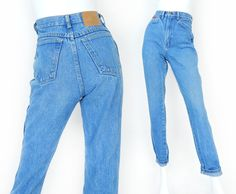 Vintage 80s High Waisted Women's Wrangler Jeans - Size 4 - Slim Fit Tight Tapered Faded Blue Jeans - 25 Waist by SadieBessVintage on Etsy - $40