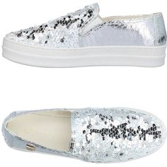 Laura Biagiotti Low-tops & Sneakers ($66) ❤ liked on Polyvore featuring shoes, sneakers, silver, pull on sneakers, sequin slip on shoes, slip on trainers, round toe sneakers and 2 tone shoes