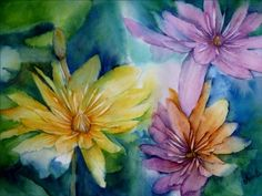 Exotic Flowers, Water Lilies, Art Club, Art Therapy, Watercolours, Landscape Paintings, Pond, Lily, Portrait