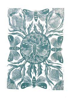 Moths and Thistle Linocut Aqua by Mangle Prints, via Flickr