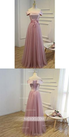 Elegant Blush Pink Off Shoulder Appliques Floor Length Tulle Evening Dresses Prom Dresses Inexpensive Bridesmaid Dresses, Affordable Prom Dresses, Cheap Prom Dresses, Cheap Wedding Dress, Dresses For Sale, Wedding Dresses, Grad Dresses, Evening Dresses, Formal Dresses