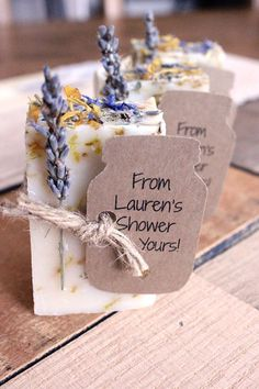 Looking for bridal shower favor ideas? Check out these top picks, like pretty lavender soap, from The Knot editors and find everything from inexpensive bridal shower favors to DIY bridal shower favors made to match your shower theme. Personalize your wedding and put a spin on tradition with The Knot's customizable wedding websites, wedding invitations, registry (and more!). Bridal Shower Desserts, Wedding Shower Favors, Beach Wedding Favors, Wedding Favors For Guests, Bridal Shower Rustic, Bridal Shower Games, Bridal Shower Decorations, Bridal Shower Invitations, Wedding Gifts