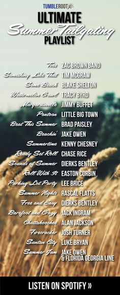 We love the combination of summertime and country music at TumbleRoot, so we thought we'd make a playlist for y'all to listen to this summer! Here's our Ultimate Summer Tailgating Playlist: Country Playlist, Country Lyrics, Country Music Quotes, Country Music List, Country Summer Quotes, Country Party Songs, Summer Night Quotes, Country Love Songs, Country Boys