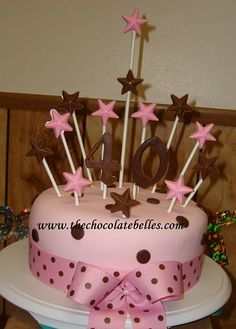 Image Detail For Elegant Fondant Pink Amp Brown 4oth Birthday Cake 40th Ideas