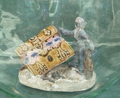 Vintage Porcelain Treasure Chest and Lead Diver by PaintedCave