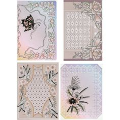 Four designs based on tracing the designs in black ink to show off the embossing to give a stunning finished look. http://www.cccollection.co.uk/original-parchment-craft-patterns-and-packs/christine-coleman-pattern-packs/pack-025--black-beauties