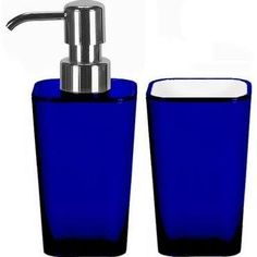 cobalt blue glass soap dispenser kitchen soap pump bathroom decor