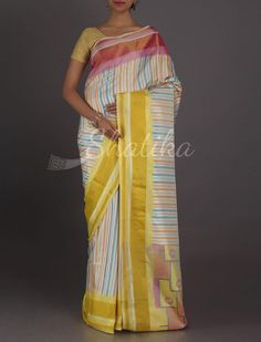 Kinjal Striking Stripes Ganga Jamuna Border Pure #PatolaSilkSaree