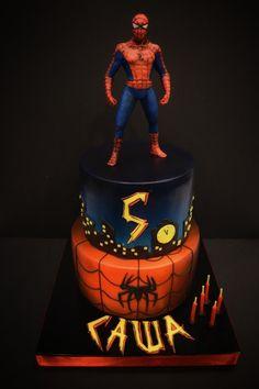Spiderman Cake Ideas for Little Super Heroes - Novelty Birthday Cakes 5th Birthday Cake, Superhero Birthday Cake, Novelty Birthday Cakes, Birthday Ideas, Spiderman Cake Topper, Batman Cakes, Just Cakes, Cakes For Boys, Wedding Cake Roses