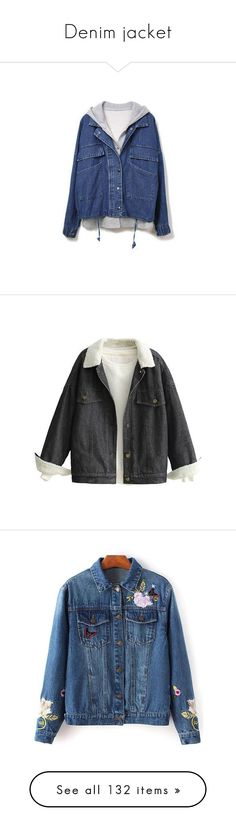 """Denim jacket"" by stellacolor21 ❤ liked on Polyvore featuring outerwear, jackets, sherpa lined fleece jacket, faux shearling denim jacket, sherpa lined jacket, sherpa fleece jacket, denim jacket, jean jacket, blue denim jacket and blue jackets"