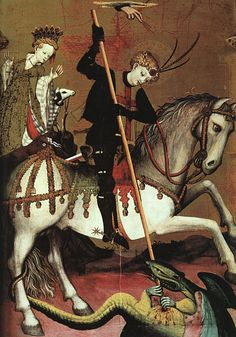 "m-arcelo: ""lazzaretto: "" medieval: "" Happy St. George's Day. MARZAL DE SAX, Andrés Retable of St George (detail) c. 1400 Tempera on wood, 670 x 486 cm (full retable) Victoria and Albert Museum, London "" "" Vanitas, Knight Of Wands, Gravure Photo, Saint George And The Dragon, Saint Georges, Dragon Slayer, Medieval Art, Sacred Art, Monster"