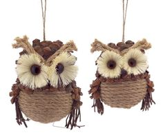 Set of 2 Country Cabin Jute and Pine Cone Woodland Forest Owl Christmas Ornaments – 31799878 - insightful. Christmas Owls, Christmas Past, Rustic Christmas, Christmas Crafts, Christmas Ornaments, Cabin Christmas, Xmas, Woodland Forest, Woodland Theme