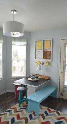 kids art table organization ideas, A lot of DIY projects and colorful stools purchased from World Market Spring home tour with simple ideas, crafts, DIY projects. All with bold colors and a coastal/rustic look to the home.#worldmarkettribe