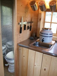 Small Space Living check out sink idea and compost toilet??? cool for tiny cabin etc