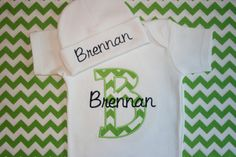 Chevron Personalized Infant Baby Onesie Body suite Layette with Beanie Hat Appliqued and Monogrammed Baby Boy Girl Coming Home Outfit on Etsy, $27.00