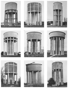 Biography: Documentary/Architecture photographers Bernd and Hilla Becher Industrial Architecture, Ancient Architecture, Modern Architecture, Typology Architecture, Bernd Und Hilla Becher, Ing Civil, A Level Photography, Retro Futurism, Brutalist