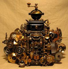 Steampunk Coffee Grinder - http://www.thayerdemay.com/sculpture/tabletop-art-steampunk-coffee-grinder.php