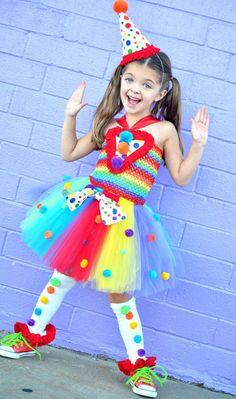 Girls Circus Carnival Clown Tutu Costume..Rainbow ..Birthday Outfit-photo shoot- Top hat- rainbow tutu- 1st birthday- Halloween-Clown Dress on Etsy, $75.00: