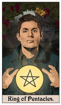 Supernatural Suit of Pentacles Supernatural Fans, Wallpapers Supernatural, Supernatural Drawings, Supernatural Fan Art, Castiel, Sam E Dean, Tarot Decks, Tarot Cards, Images