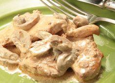 Receitas - Bifes de frango com natas e cogumelos - Petiscos.com