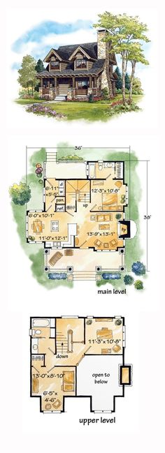 House Plan 43212 - Cabin, Craftsman, Log Style House Plan with 1362 Sq Ft, 2 Bed, 2 Bath Small Floor Plans, Kitchen Floor Plans, Small Home Plans, House Plans One Story, Tiny House Plans, Tiny Cottage Floor Plans, Small House Plans Under 1000 Sq Ft, House Design Plans, Floor Plans 2 Story