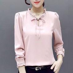 Blusas Femininas 2017 Spring Chiffon Blouse For Women's Shirt Long Sleeve White Office Top Fungus Collar Big Size Chemise Femme