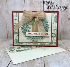 Mary Deatherage, Independent Stampin' Up! Demonstrator in Fayetteville, Georgia (Atlanta).Let's make some cards! Winter Cards, Holiday Cards, Christmas Cards, Christmas 2019, Christmas Ideas, Stampin Up Weihnachten, Green Wreath, Christmas Catalogs, Stampin Up Christmas