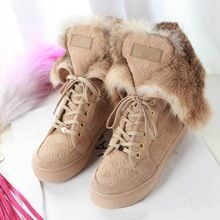 2014 HOT Newest Women fashion Genuine Leather Christmas gift real fur boots warm winter fox wool lace up platform boots shoes(China (Mainland))