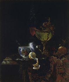 Willem Kalf Still Life with a Chinese Bowl, a Nautilus Cup and other Objects 1662 Oil on canvas. 79.4 x 67.3 cm Museo Thyssen-Bornemisza, Madrid INV. Nr. 203 (1962.10)
