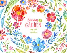 1 Sunny Garden. 55 Floral Elements, watercolor clip art, flowers, separate, cards, diy, invite, baby, colorful, art, leaves, blossom, sprigs