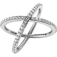 "Sterling Silver 925 Cubic Zirconia CZ Criss Cross ""X"" Long Ring"