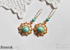 Turquoise Earrings by Karina Turchin.  (Translate)  #Seed #Bead #Tutorials