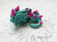 Turquoise and Fucsia Plushlike Dragon by EyranneCrafts on deviantART