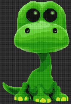 Disney Pop Arlo (The Good Dinosaur) Cross Stitch and Plastic Canvas pattern Plastic Canvas Crafts, Plastic Canvas Patterns, Bead Patterns, Cross Stitch Patterns, Disney Pop, Cross Stitch For Kids, Dinosaur Pattern, The Good Dinosaur, Perler Bead Art