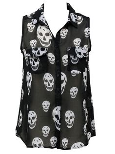 """""""Miss Poison Skull"""" Chiffon Tank by Double Trouble Apparel"""