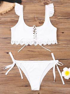 Criss Cross Tie Side Bikini with Lace Strapless Swimsuit, Bandeau Swimsuit, Black Swimsuit, Criss Cross, Wholesale Swimwear, White Bikinis, Women's Bikinis, Cheap Swimsuits, Beachwear For Women