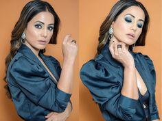 Hina Khan's Mesmerising Blue Eye Make-up Is All You Need To Slay This Holiday Season Bold Lips, Glossy Lips, Teal Eye Makeup, Fill In Brows, Blue Eyeliner, Natural Beauty Tips, Naturally Beautiful, Eye Make Up, Wedding Season