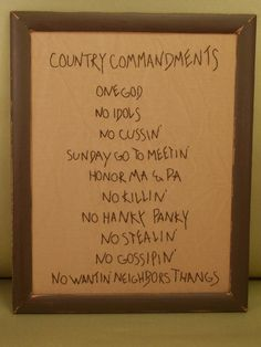 Country Commandments: High Quality Handmade Country Primitive Crafts Framed Stitcheries / country charm and humor ; Primitive Stitchery, Primitive Crafts, Country Primitive, Primitive Embroidery, Sewing Projects, Projects To Try, Felt Projects, Sewing Ideas, Country Crafts