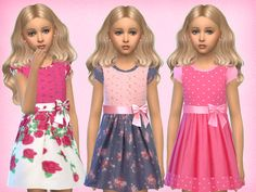 Set of 3 girls dresses for everyday Found in TSR Category 'sims 4 Female Child Everyday'