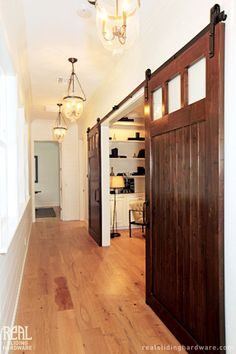 Perhaps I could take down just part of the hall wall to open up the den to light and this gives the option of closing it back as needed. Barn Door Hardware Photo Gallery by Real Sliding Hardware - April 27 2019 at Corner Sink Bathroom, Cape Cod Style House, Carriage Doors, Glass Front Door, Glass Doors, Interior Barn Doors, Barn Door Hardware, French Doors, Architecture