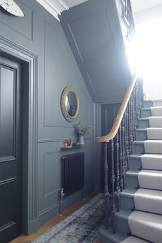 Stair and hallway makeover reveal, with dramatic results. Bright colour, brass and an epic gallery wall, takes this victorian terrace into the Century. Hallway Colours, House, House Entrance, Georgian Homes, Victorian Hallway, Staircase Design, New Homes, Hallway Designs, Painted Stairs