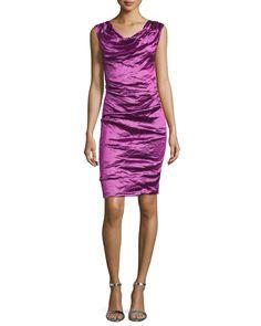 Sleeveless Cowl-Neck Sheath Dress, Magenta (Pink) - Nicole Miller