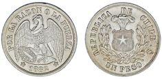 1 SILVER PESO/PLATA. REPÚBLICA DE CHILE. CÓNDOR. 1882. AU/SC-. NICE / BONITA.
