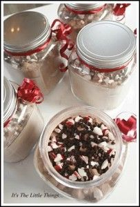 Peppermint Hot Chocolate Gifts - Mix together the hot cocoa powder of your choice, mini semi-sweet chocolate chips, mini marshmallows, and crushed candy canes. Decorate the jar with pretty ribbon and the heating instructions, and you have a very sweet gift that will warm up your loved ones on a cold, wintry day!