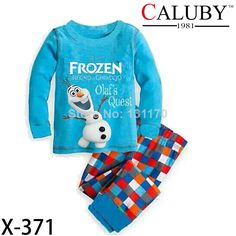 Retail New 2014 baby children clothing sets boys girls frozen Olaf Snowman pajamas suits for autumn -summer for 2-7Y kids wear