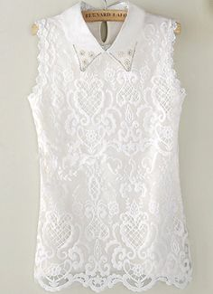 Blusa encaje solapa perlas sin manga-blanco-Spanish SheIn(Sheinside)