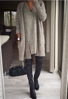 Love. Cashmere. Sophisticated. Thunder. Long cardigan. Boots.