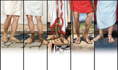 Pero - used by the mob but was without heel shoes covering the ankle and left leg free Calceus - was the formal closed shoes to w. Ancient Rome, Ancient Greece, Greece Costume, Roman Toga, Roman Clothes, Roman Republic, Greek And Roman Mythology, Roman Sandals, Classical Antiquity